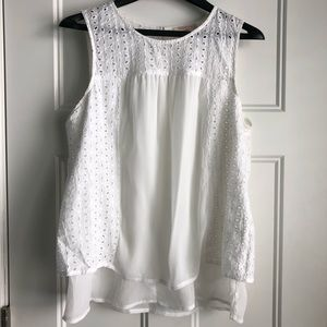 Skies are Blue eyelet lace tank blouse stitch fix
